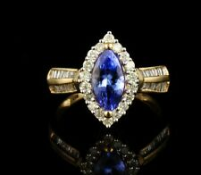 MARQUISE CUT NATURAL 2.0ctw TANZANITE & DIAMOND SOLID 14K YELLOW GOLD HALO RING