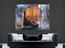 VIKING SHIP BOAT POSTER DRAGON SAILS VIKINGS SEA WAVES WALL ART LARGE IMAGE