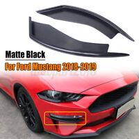 FOR FORD MUSTANG 18-2020 MATT BLACK FRONT BUMPER WINGLETS FOG LIGHT VEN