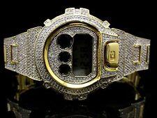 Yellow Men's Real G-Shock Simulated Diamond Watch+ Bezel+Watch Band 10 Ctw New