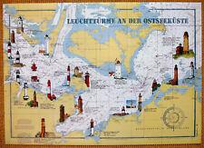 Seekarte Leuchttürme Ostsee Travemünde-Fehmarn-Kiel-Warnemünde-Darß-Prerow-Rügen
