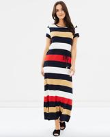 SPORTSCRAFT Corrine Maxi Dress Navy Multi Stripe Pattern RRP $150 Sz 12 AU
