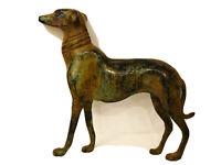 "Vintage Bronze Regal Greyhound Dog Statue Art Sculpture Verdigris Patina 9"" x 8"""