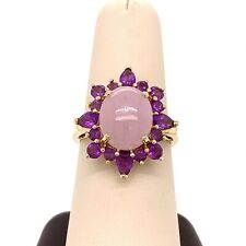 14K Yellow Gold, Lavender Jade & Amethyst Size 8 Ring! 135