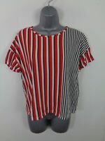 WOMENS ZARA RED/WHITE/BLACK STRIPED SHORT SLEEVED CREW NECK T SHIRT TOP S SMALL