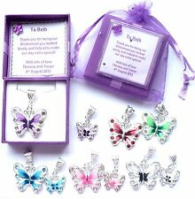 Butterfly Necklace Bridesmaid Gift Bridal Jewellery Flower girl Personalised Box