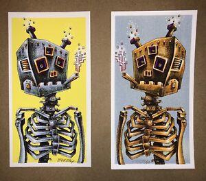 EMEK Smoking Robot Handbill Poster Art Print Signed Set Rare Blue Yellow