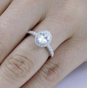 1.25CT 925 Sterling Silver Oval Halo Wedding Band CZ Engagement Ring 3-14 ML59D
