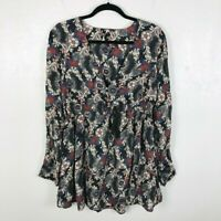 Free People Size Medium Stealing Fire Floral Tunic Mini Dress Long Sleeve Casual