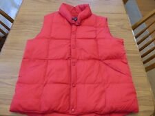 LANDS END Men's Large Red Goose Down Quilted Puffer Vest Ski Very Good Pre Owned