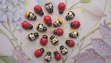 25 Mixed Tiny wooden Bee and Ladybird/Ladybug Embellishment, Craft, Scrapbooking