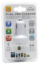 PULSE  White Dual Twin Multi USB Port Adaptor Socket in Car Smartphone Charger