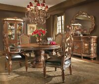 Michael Amini Villa Valencia Traditional Round Oval Table Chairs Dining Room Set