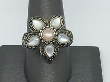 ELEGANT-Sterling Silver Mother of Pearl Marcasite Flower Ring-sz-10 /10.4g #365