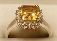 Sterling Asscher Cut Citrine and 1/10ctw Diamond Ring Size 8