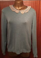 ATMOSPHERE PRIMARK Blue Green Embellished Pearl Peter Pan Collar Stretch Jumper