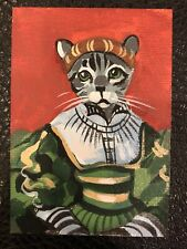 Aceo Original Painting Silver Tabby, American Shorthair, Gray Cat
