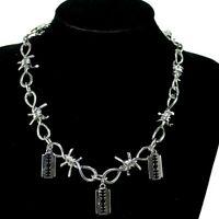 New Punk Rock Emo Goth Silver Barbed Wire Chain & Razor 3 Blade Necklace