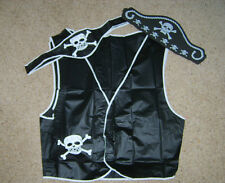 Mens Pirate Set Buccaneer Waistcoat Hat Belt Vinyl PVC Fancy Dress Costume New