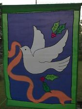 """Vintage New Dove With Holly 40""""T x 28""""W Large Garden Decorative Flag"""