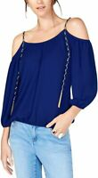 INC Womens Blouse Classic Royal Blue Size XXL Chain Cold Shoulder $59 223