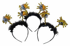 HALLOWEEN 6 x Head Hair Band Deeley Boppers Gold Tinsel Spiders Fancy Dress