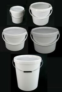Airtight Food Grade White Catering / Mixing Plastic Buckets 1 5 10 16 27.5 Litre