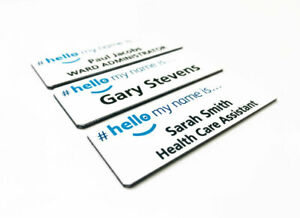 Personalised Hello My Name is Printed blue Logo Badge NHS Health Care Student RN