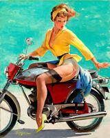 Pinup Girl Retro Motorbike On ENAMEL TYPE METAL TIN SIGN WALL PLAQUE