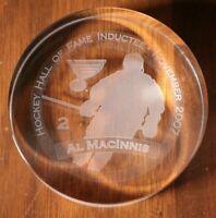 St. Louis Blues Al MacInnis Hall of Fame Induction Crystal Puck NHL Hockey