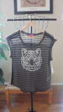 BONGO STUDDED LION GREEN STRIPE TOP WITH SHEER BLACK BACK SIZE JUNIORS  MEDIUM