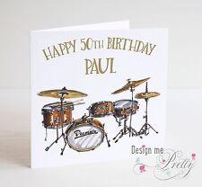 PERSONALISED DRUM KIT Birthday Card - Drummer Son Brother Husband Dad Nephew