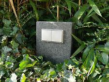 Doppelte Außensteckdose, Gartensteckdose Basalt geflammt, Naturstein, Edelstahl