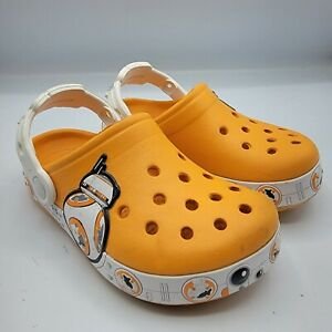 Crocs BB-8 Star Wars 202171 Orange Slip On Perforated Clogs Shoes Size 10-11