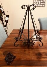 Vintage Wrought Iron 4 Arm Hanging Candle Candlestick Chandelier