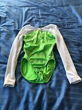 Gk Elite long sleeved green/white leotard size Cl
