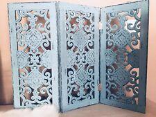 Paravent  Fensterparavent Sichtschutz Holz Mint Shabby Triptychon
