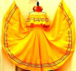 Yellow Authentic Mexican Jalisco folklorico Dance Dress Rodeo 5 de Mayo Plus Sz