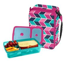 Fit & Fresh Bento Lunch Set Expandable Bag BPA Free Leak Resistant Ice Packs