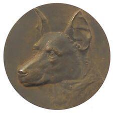 Dog award alsatian GERMAN SHEPHERD bronze 45mm signed AD