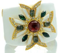 Kenneth J Lane KJL White Enamel Maltese Cross Cuff Bracelet