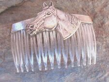 Vintage Hair Comb Horse's Head Anitqued Silver Plated Clear Comb  Made in USA