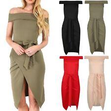 Womens Ladies Bodycon Wrapover Tie Knot Bow Off Shoulder Sleeveless Bardot Dress