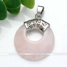 Vintage Natural Rose Quartz Stone Coin Healing Bead Pendant For Necklace Jewelry