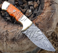 BEAUTIFUL CUSTOM HAND MADE DAMASCUS STEEL SKINNER HUNTING KNIFE BONE HANDLE