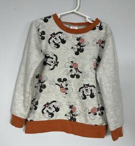 Disney Orange and Oatmeal All Over Mickey Print Crew Sweatshirt Unisex Kids 5T