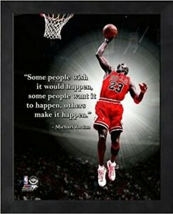 "Michael Jordan Chicago Bulls NBA Pro Quotes Photo NX221 (Size: 12"" x 15"") Framed"