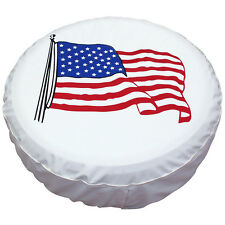 "15"" Spare Wheel Cover Tire Covers White USA Flag Image For RV Truck SUV Camper"