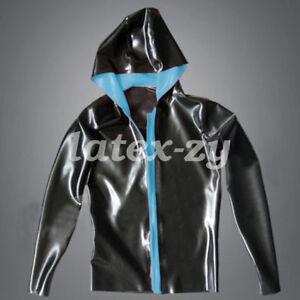 New 100% Latex Rubber Loose Hood Black with Blaue Jacke Sport Coat  size S-XXL