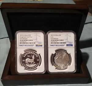 2019 SOUTH AFRICA KRUGERRAND/BIG5 lion PF69 UC FIRST RELEASES 2 COIN SET